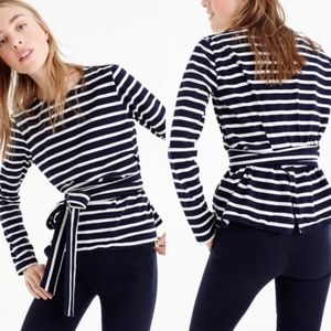J Crew belted crossback striped top